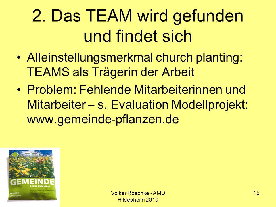 Volker Roschke - AMD Hildesheim 2010 15 2. Das TEAM wird gefunden und findet sich Alleinstellungsmerkmal church planting: TEAMS als Trägerin der Arbei