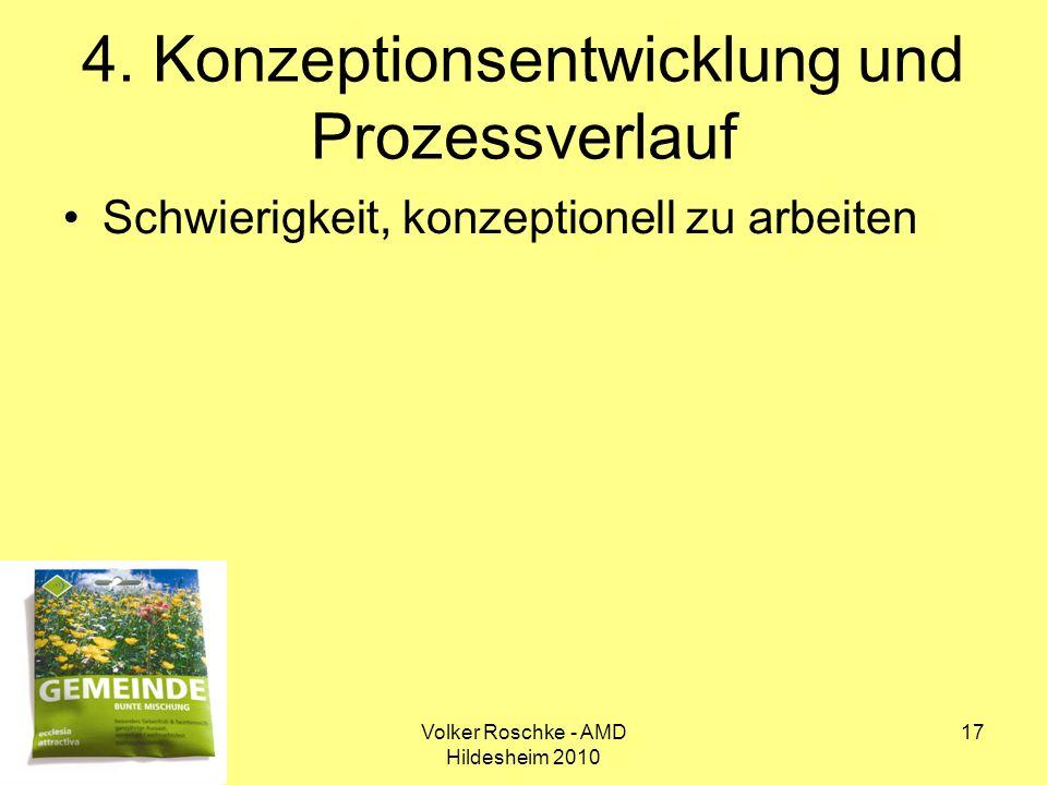 Volker Roschke - AMD Hildesheim 2010 17 4. Konzeptionsentwicklung und Prozessverlauf Schwierigkeit, konzeptionell zu arbeiten