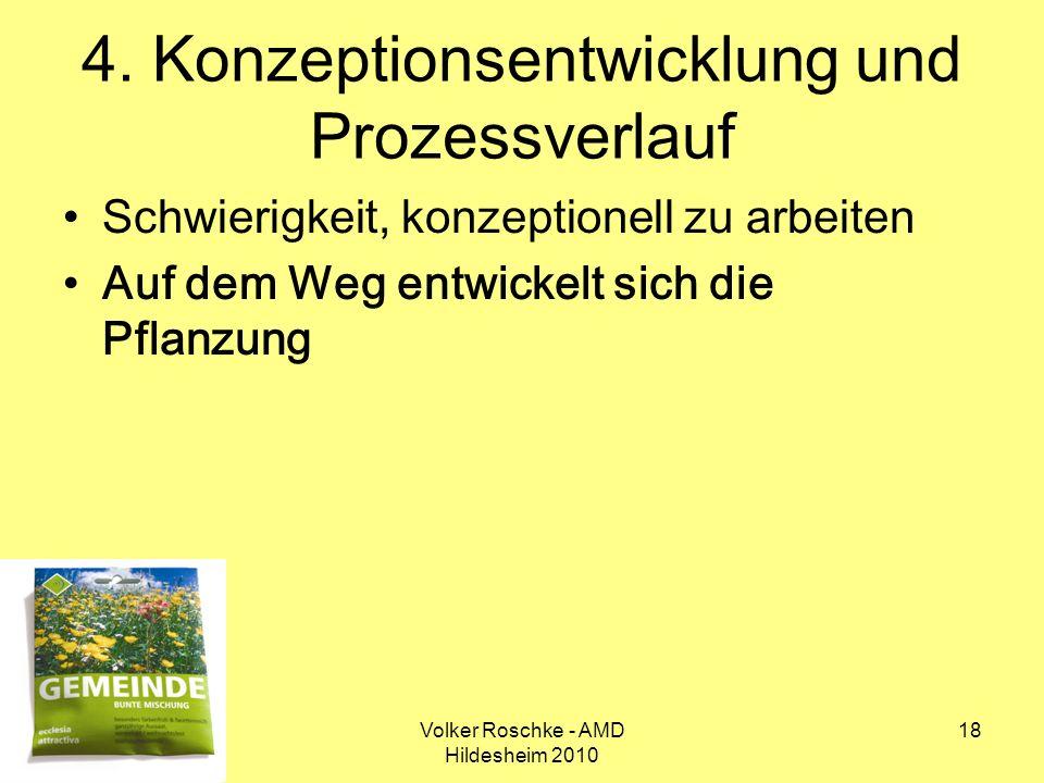 Volker Roschke - AMD Hildesheim 2010 18 4. Konzeptionsentwicklung und Prozessverlauf Schwierigkeit, konzeptionell zu arbeiten Auf dem Weg entwickelt s