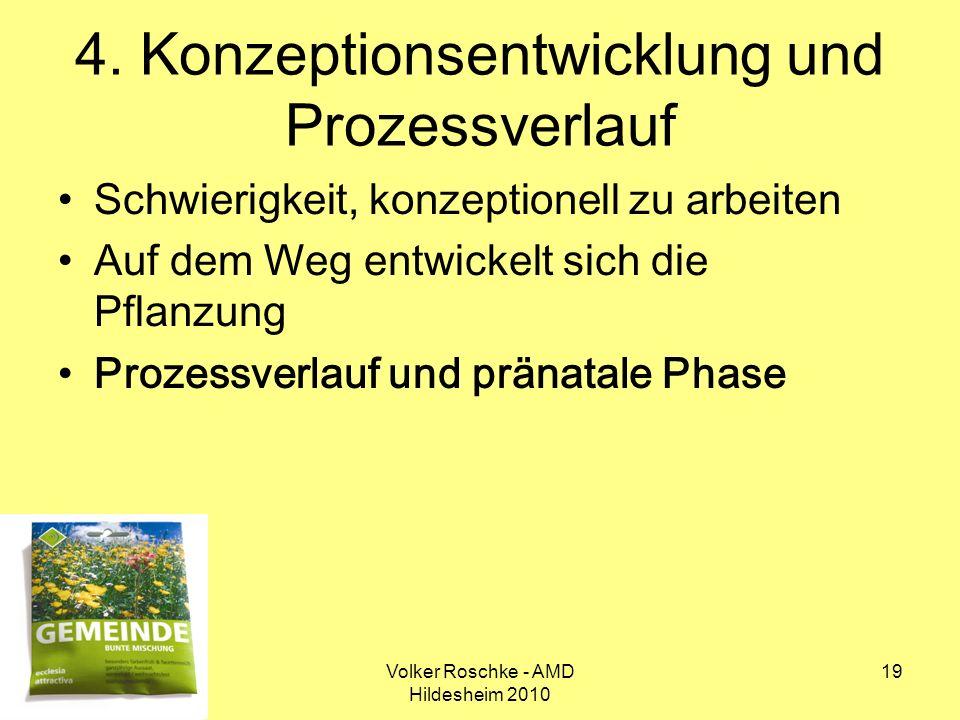 Volker Roschke - AMD Hildesheim 2010 19 4. Konzeptionsentwicklung und Prozessverlauf Schwierigkeit, konzeptionell zu arbeiten Auf dem Weg entwickelt s