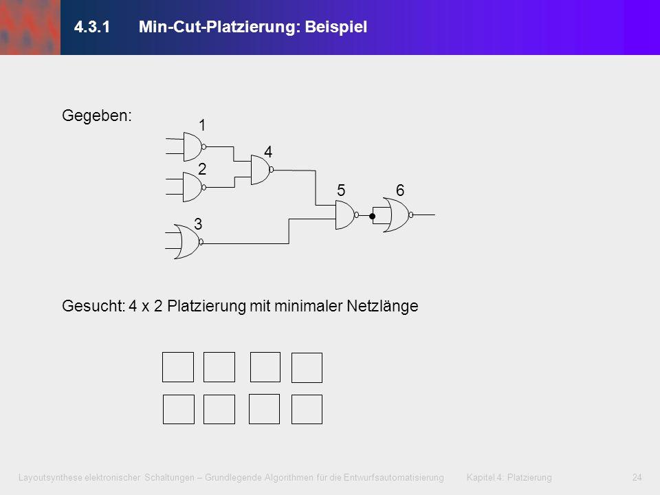 Layoutsynthese elektronischer Schaltungen – Grundlegende Algorithmen für die Entwurfsautomatisierung Kapitel 4: Platzierung24 Gegeben: Gesucht: 4 x 2