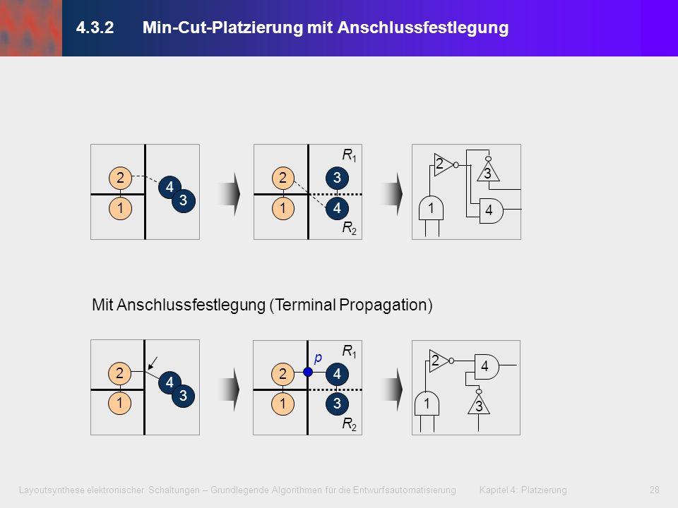 Layoutsynthese elektronischer Schaltungen – Grundlegende Algorithmen für die Entwurfsautomatisierung Kapitel 4: Platzierung28 4.3.2Min-Cut-Platzierung