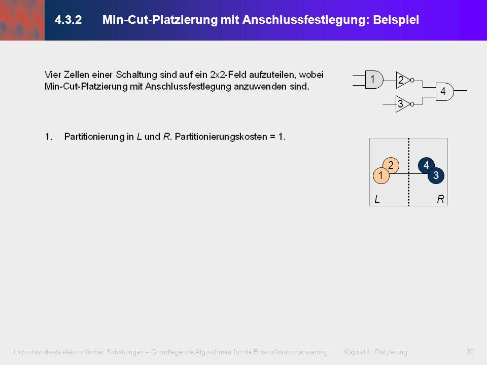 Layoutsynthese elektronischer Schaltungen – Grundlegende Algorithmen für die Entwurfsautomatisierung Kapitel 4: Platzierung30 4.3.2 Min-Cut-Platzierun