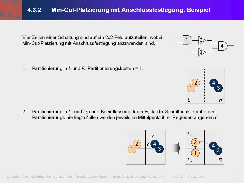 Layoutsynthese elektronischer Schaltungen – Grundlegende Algorithmen für die Entwurfsautomatisierung Kapitel 4: Platzierung31 4.3.2 Min-Cut-Platzierun