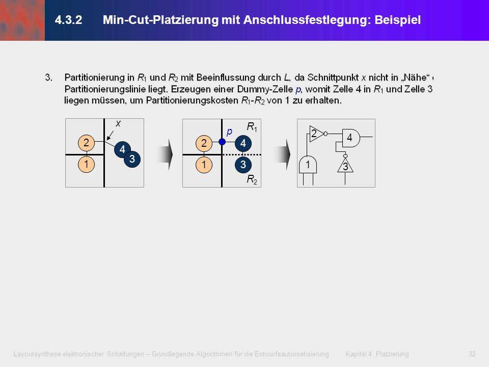 Layoutsynthese elektronischer Schaltungen – Grundlegende Algorithmen für die Entwurfsautomatisierung Kapitel 4: Platzierung32 4.3.2 Min-Cut-Platzierun
