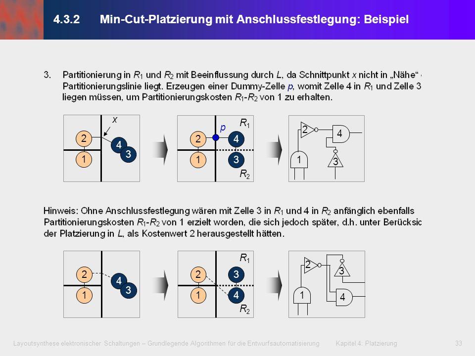 Layoutsynthese elektronischer Schaltungen – Grundlegende Algorithmen für die Entwurfsautomatisierung Kapitel 4: Platzierung33 4.3.2 Min-Cut-Platzierun