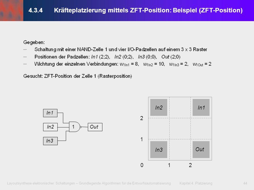 Layoutsynthese elektronischer Schaltungen – Grundlegende Algorithmen für die Entwurfsautomatisierung Kapitel 4: Platzierung44 012 1 2 In2 In3 In1 Out