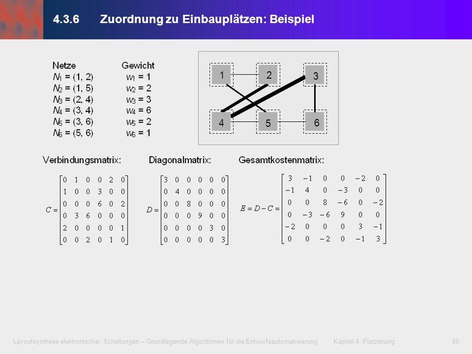 Layoutsynthese elektronischer Schaltungen – Grundlegende Algorithmen für die Entwurfsautomatisierung Kapitel 4: Platzierung60 1 4 2 3 6 5 4.3.6Zuordnu
