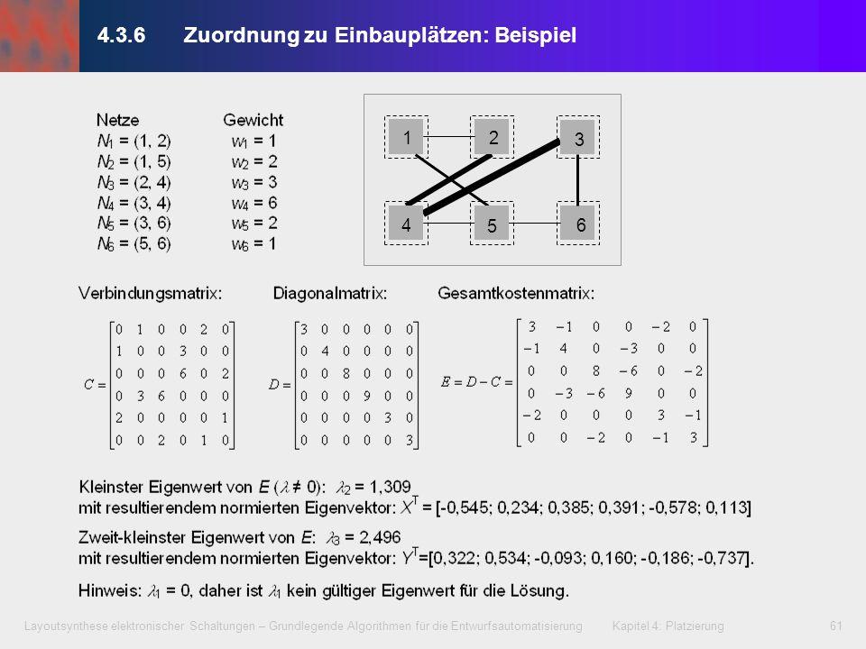 Layoutsynthese elektronischer Schaltungen – Grundlegende Algorithmen für die Entwurfsautomatisierung Kapitel 4: Platzierung61 1 4 2 3 6 5 4.3.6Zuordnu