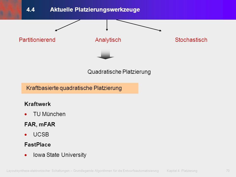 Layoutsynthese elektronischer Schaltungen – Grundlegende Algorithmen für die Entwurfsautomatisierung Kapitel 4: Platzierung70 4.4Aktuelle Platzierungs