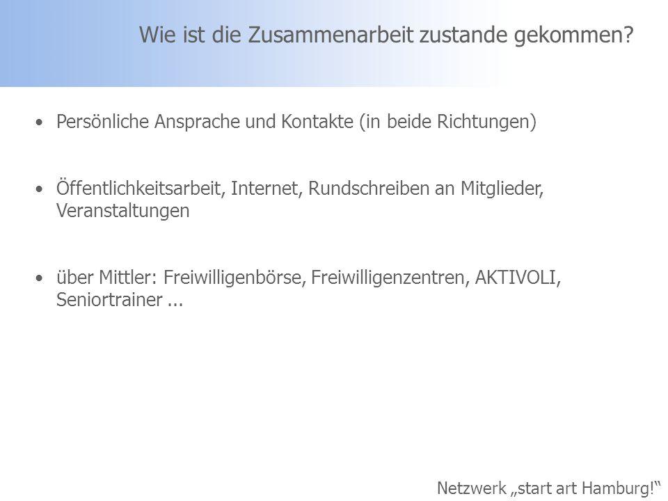 Netzwerk start art Hamburg! Wie ist die Zusammenarbeit zustande gekommen? Persönliche Ansprache und Kontakte (in beide Richtungen) Öffentlichkeitsarbe