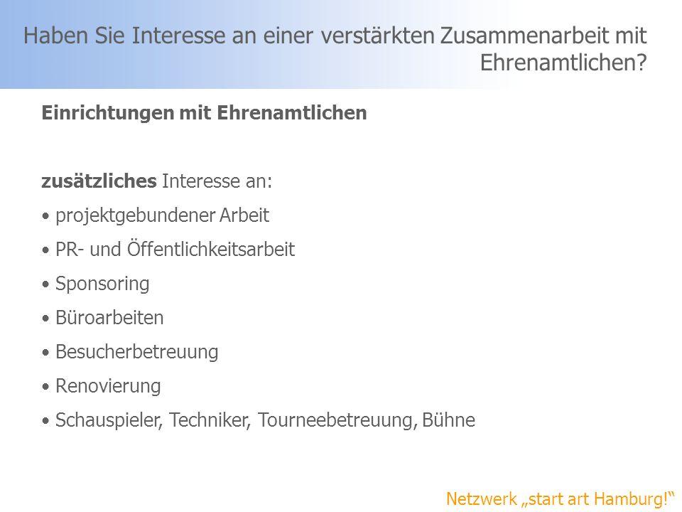 Netzwerk start art Hamburg! Haben Sie Interesse an einer verstärkten Zusammenarbeit mit Ehrenamtlichen? Einrichtungen mit Ehrenamtlichen zusätzliches