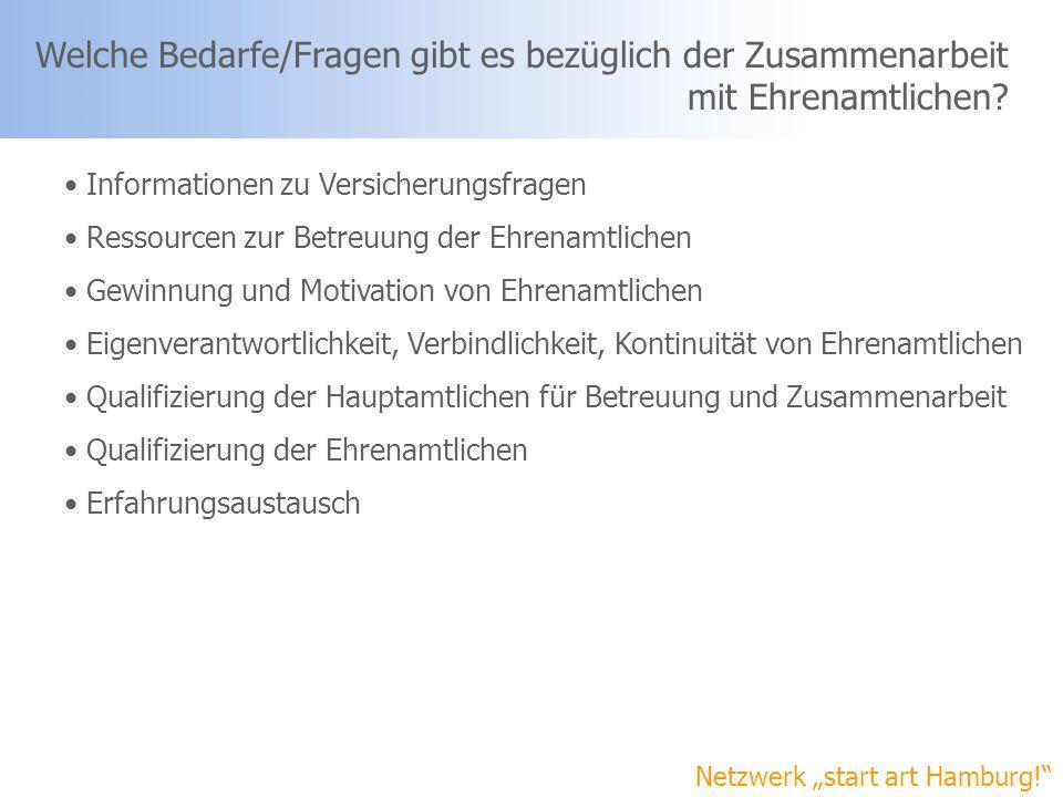 Netzwerk start art Hamburg! Welche Bedarfe/Fragen gibt es bezüglich der Zusammenarbeit mit Ehrenamtlichen? Informationen zu Versicherungsfragen Ressou