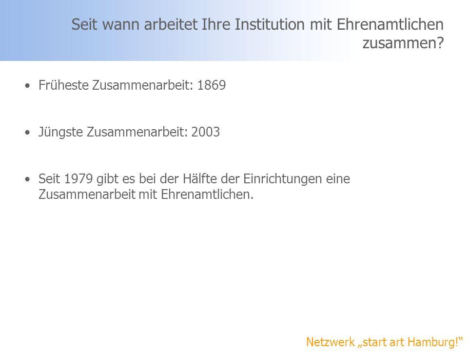 Seit wann arbeitet Ihre Institution mit Ehrenamtlichen zusammen? Netzwerk start art Hamburg! Früheste Zusammenarbeit: 1869 Jüngste Zusammenarbeit: 200