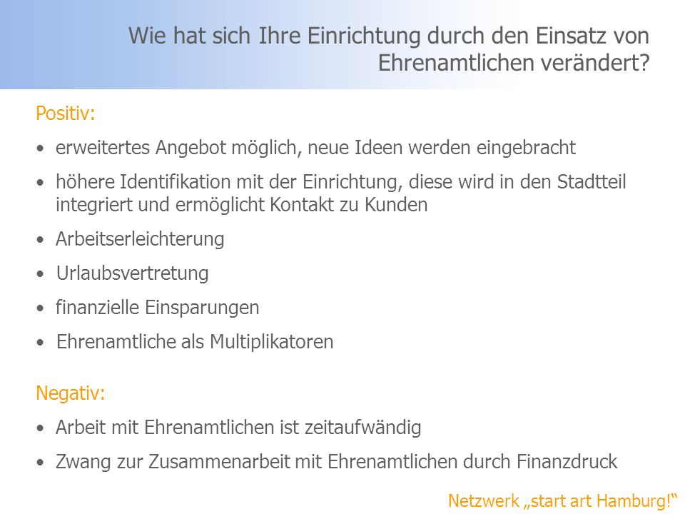 Netzwerk start art Hamburg! Aus welchen Motiven arbeiten Sie mit Ehrenamtlichen zusammen?