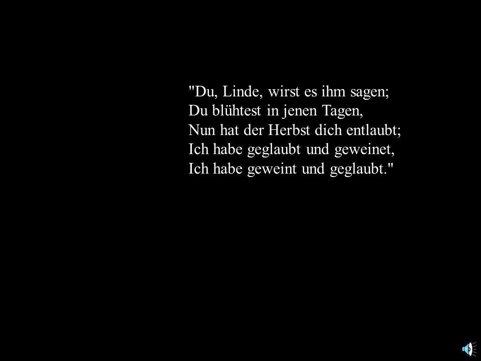 Du, Linde, wirst es ihm sagen; Du blühtest in jenen Tagen, Nun hat der Herbst dich entlaubt; Ich habe geglaubt und geweinet, Ich habe geweint und geglaubt.