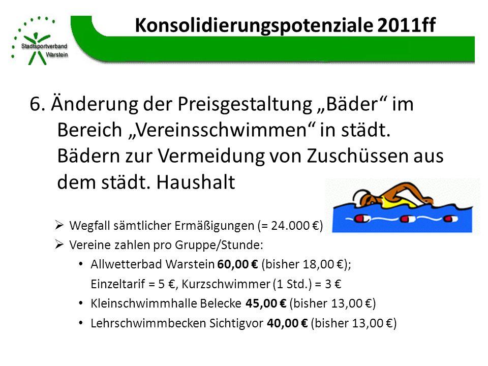 Konsolidierungspotenziale 2011ff 6. Änderung der Preisgestaltung Bäder im Bereich Vereinsschwimmen in städt. Bädern zur Vermeidung von Zuschüssen aus