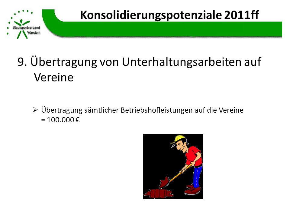 Konsolidierungspotenziale 2011ff 9. Übertragung von Unterhaltungsarbeiten auf Vereine Übertragung sämtlicher Betriebshofleistungen auf die Vereine = 1