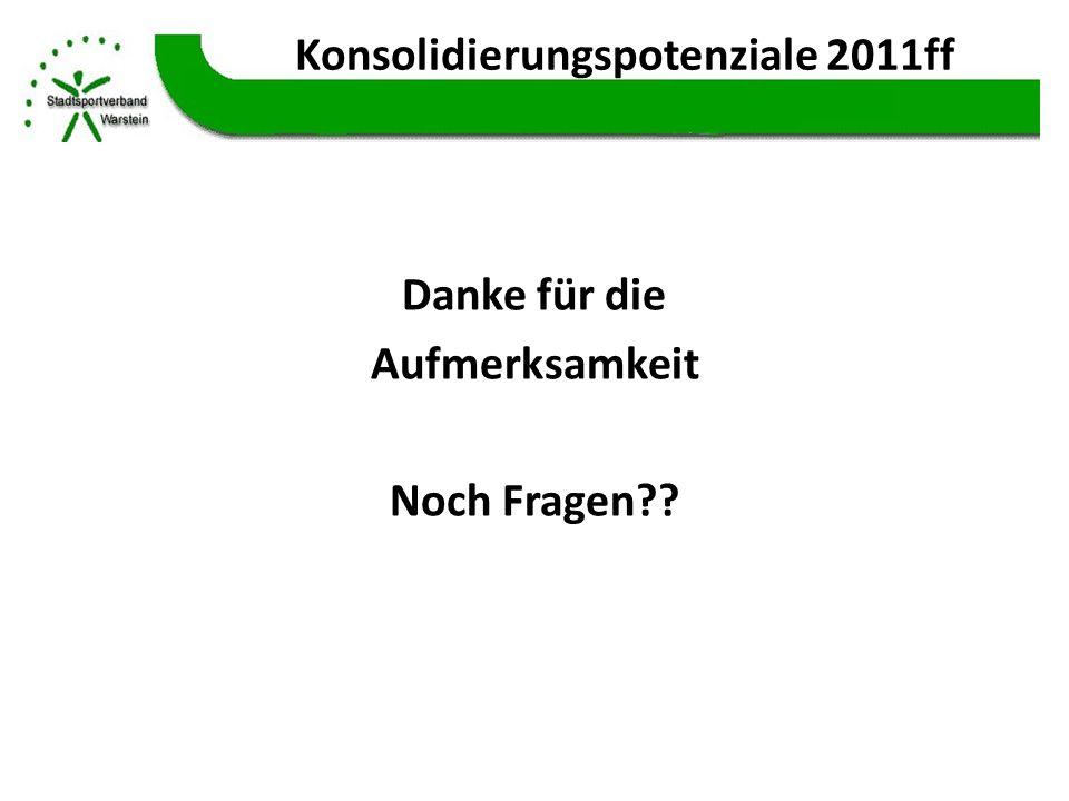 Konsolidierungspotenziale 2011ff Danke für die Aufmerksamkeit Noch Fragen??