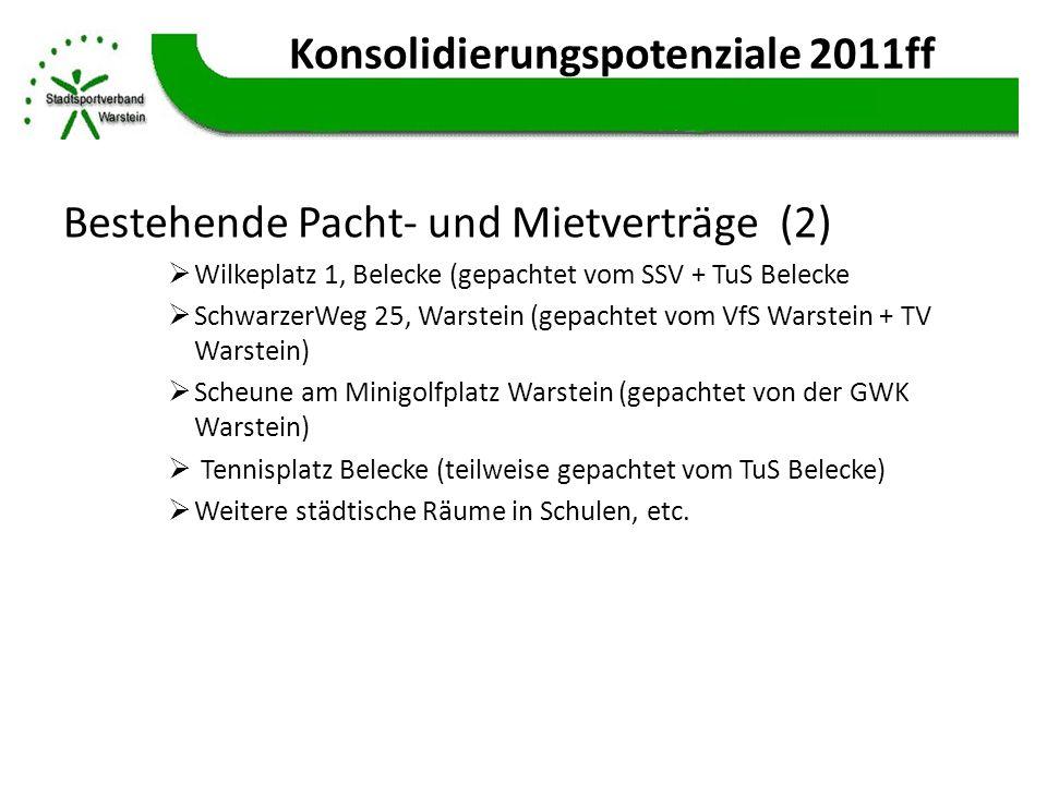Konsolidierungspotenziale 2011ff Bestehende Pacht- und Mietverträge (2) Wilkeplatz 1, Belecke (gepachtet vom SSV + TuS Belecke SchwarzerWeg 25, Warste