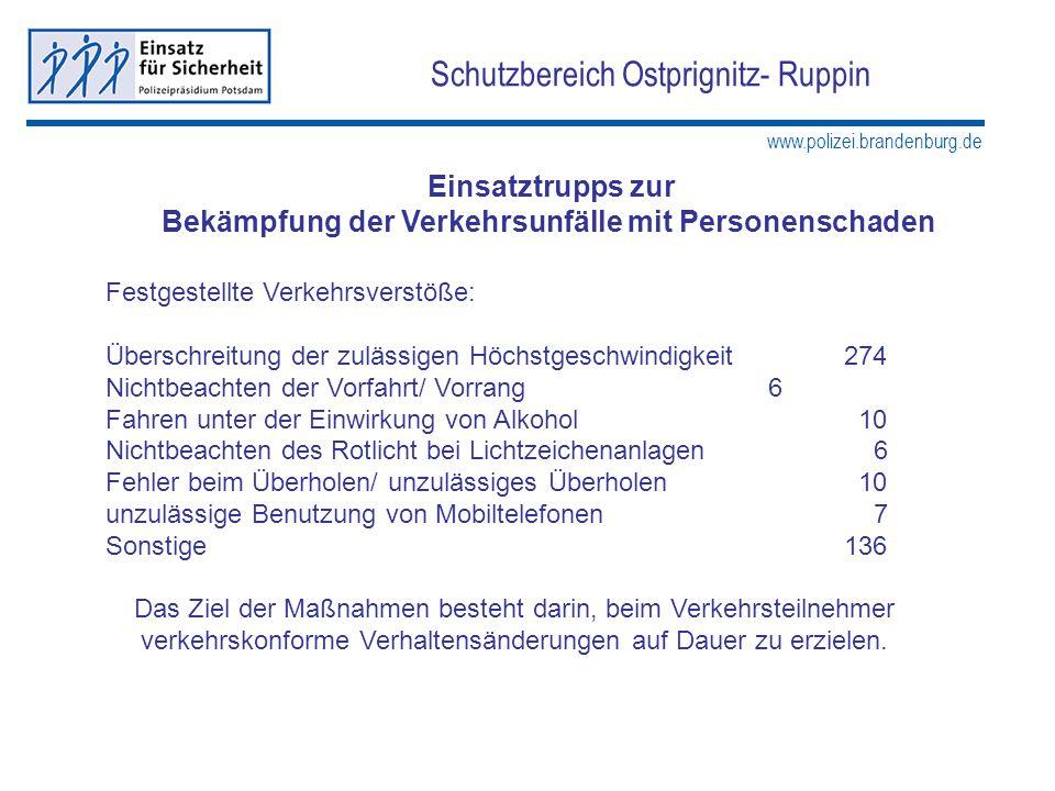 www.polizei.brandenburg.de Schutzbereich Ostprignitz- Ruppin Einsatztrupps zur Bekämpfung der Verkehrsunfälle mit Personenschaden Festgestellte Verkeh