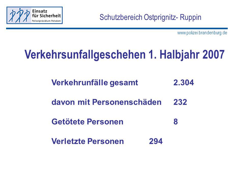 www.polizei.brandenburg.de Schutzbereich Ostprignitz- Ruppin Verkehrsunfallgeschehen 1. Halbjahr 2007 Verkehrunfälle gesamt2.304 davon mit Personensch