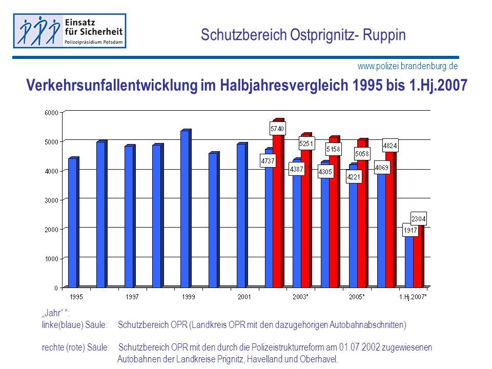 www.polizei.brandenburg.de Schutzbereich Ostprignitz- Ruppin Jahr *: linke(blaue) Säule: Schutzbereich OPR (Landkreis OPR mit den dazugehörigen Autoba