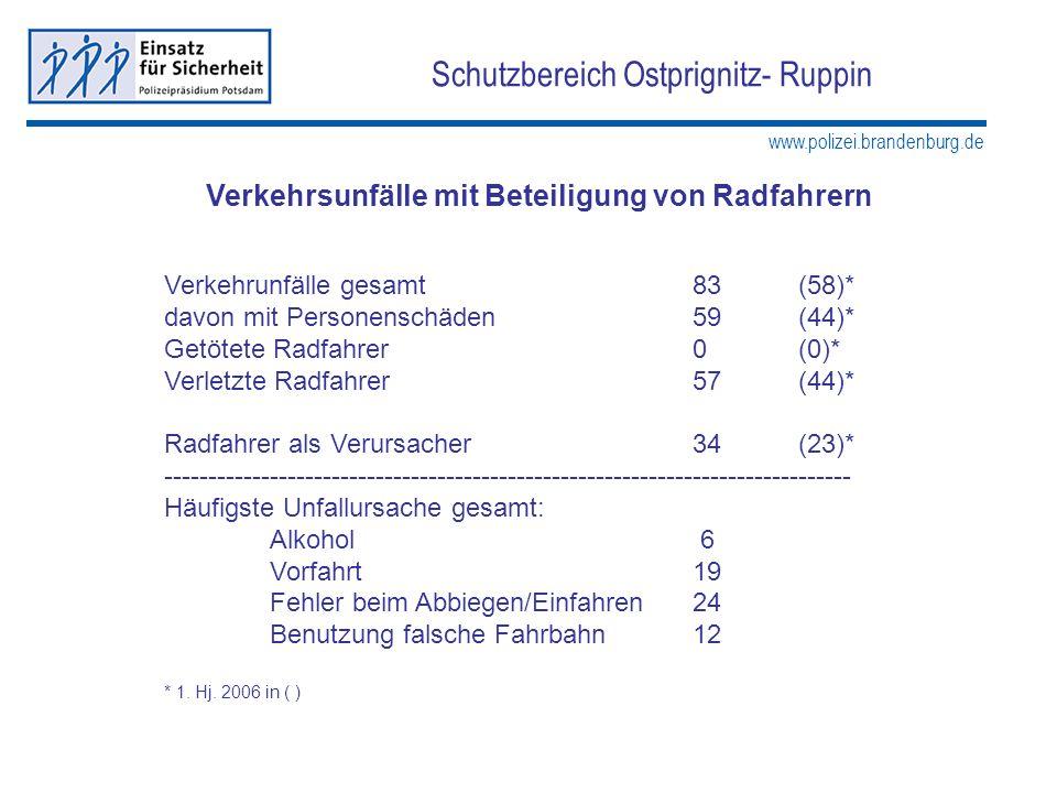 www.polizei.brandenburg.de Schutzbereich Ostprignitz- Ruppin Verkehrsunfälle mit Beteiligung von Radfahrern Verkehrunfälle gesamt83(58)* davon mit Per