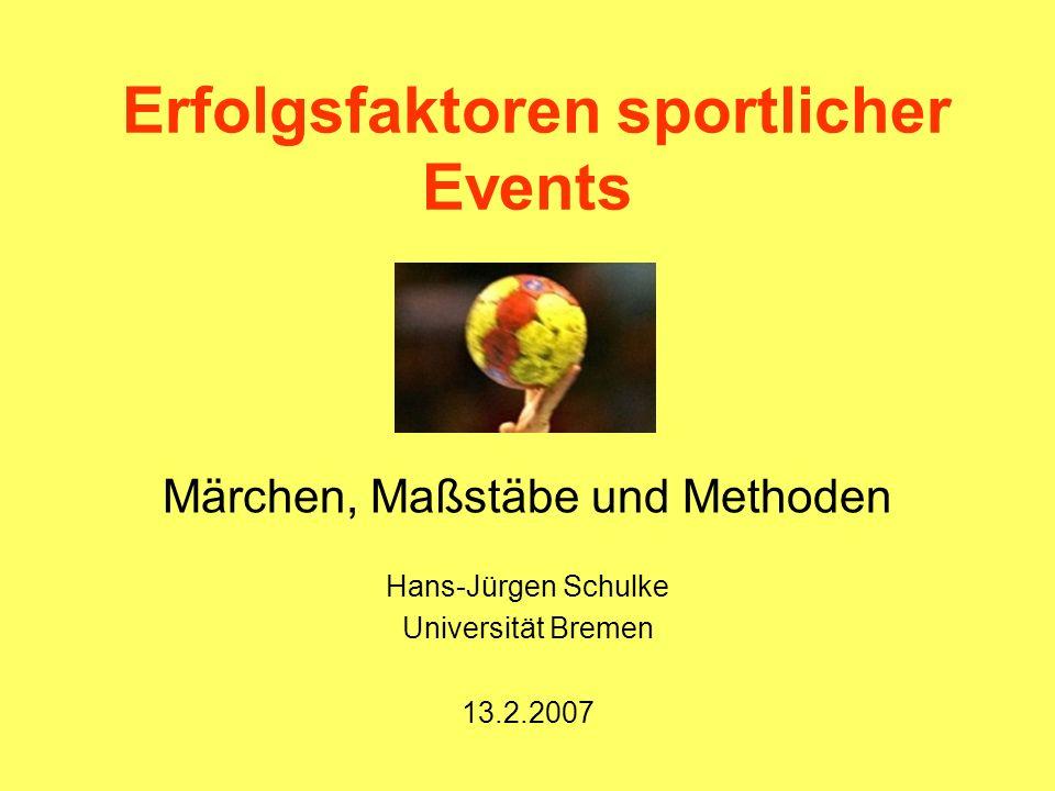 Erfolgsfaktoren sportlicher Events Märchen, Maßstäbe und Methoden Hans-Jürgen Schulke Universität Bremen 13.2.2007