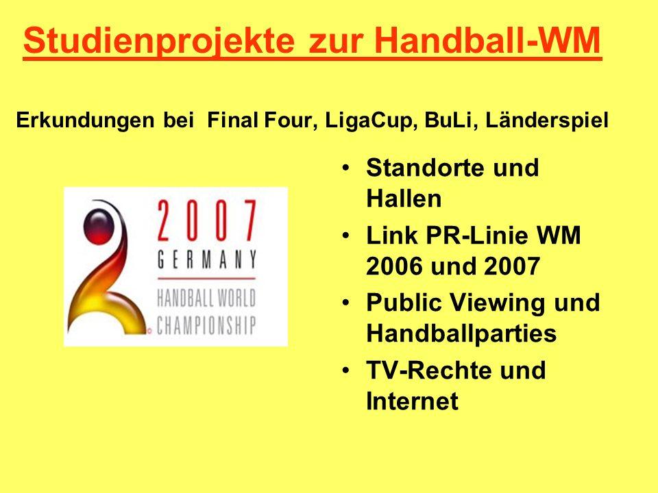 Studienprojekte zur Handball-WM Erkundungen bei Final Four, LigaCup, BuLi, Länderspiel Standorte und Hallen Link PR-Linie WM 2006 und 2007 Public View
