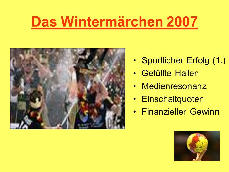 Das Sommermärchen 2006 Sportlicher Erfolg (3.) Volle Stadien 3,1 mio Medienhype Gewinn 148 mio Infrastruktur Stadien Fan-Feste Neue Vereinsmitglieder Schulfußball Politische Akzeptanz Kulturelle Aufwertung Frauen-WM 2011 (?)