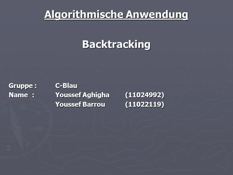 Backtracking Algorithmus: ist eine systematische Suchstrategie und findet deshalb immer eine optimale Lösung, sofern vorhanden, und sucht höchstens einmal in der gleichen Sackgasse ist eine systematische Suchstrategie und findet deshalb immer eine optimale Lösung, sofern vorhanden, und sucht höchstens einmal in der gleichen Sackgasse ist einfach zu implementieren mit Rekursion ist einfach zu implementieren mit Rekursion macht eine Tiefensuche im Lösungsbaum macht eine Tiefensuche im Lösungsbaum hat im schlechtesten Fall eine exponentielle Laufzeit O(k^n) und ist deswegen primär für kleine Probleme geeignet hat im schlechtesten Fall eine exponentielle Laufzeit O(k^n) und ist deswegen primär für kleine Probleme geeignet erlaubt Wissen über ein Problem in Form einer Heuristik zu nutzen, um den Suchraum einzuschränken und die Suche dadurch zu beschleunigen erlaubt Wissen über ein Problem in Form einer Heuristik zu nutzen, um den Suchraum einzuschränken und die Suche dadurch zu beschleunigen