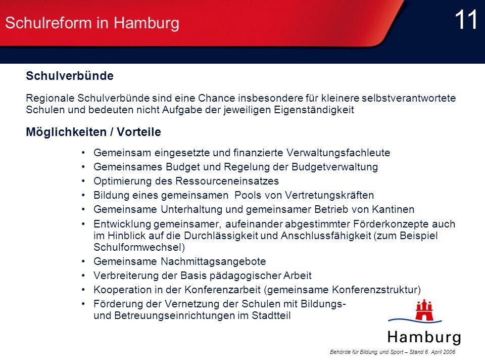 Behörde für Bildung und Sport – Stand 6. April 2006 11 Schulreform in Hamburg Schulverbünde Regionale Schulverbünde sind eine Chance insbesondere für