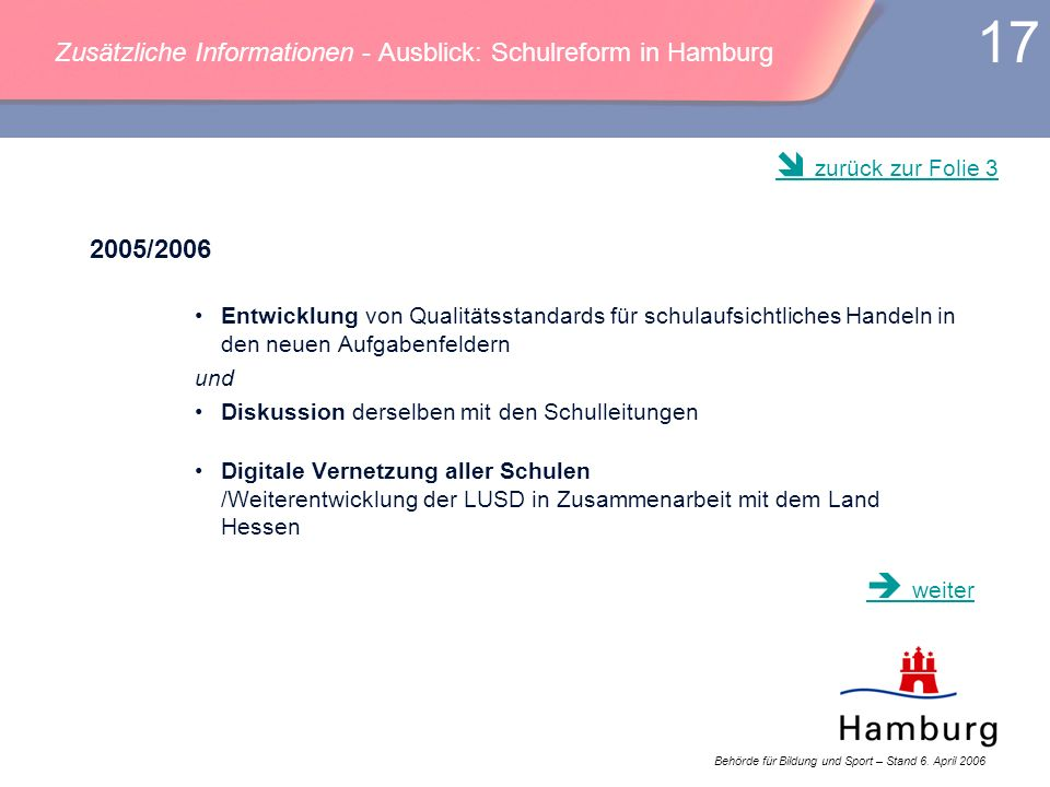Behörde für Bildung und Sport – Stand 6. April 2006 17 Zusätzliche Informationen - Ausblick: Schulreform in Hamburg 2005/2006 Entwicklung von Qualität