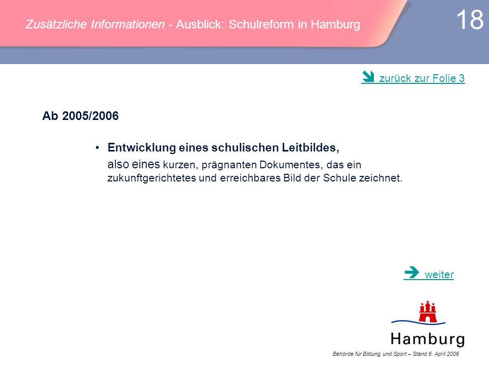 Behörde für Bildung und Sport – Stand 6. April 2006 18 Zusätzliche Informationen - Ausblick: Schulreform in Hamburg Ab 2005/2006 Entwicklung eines sch