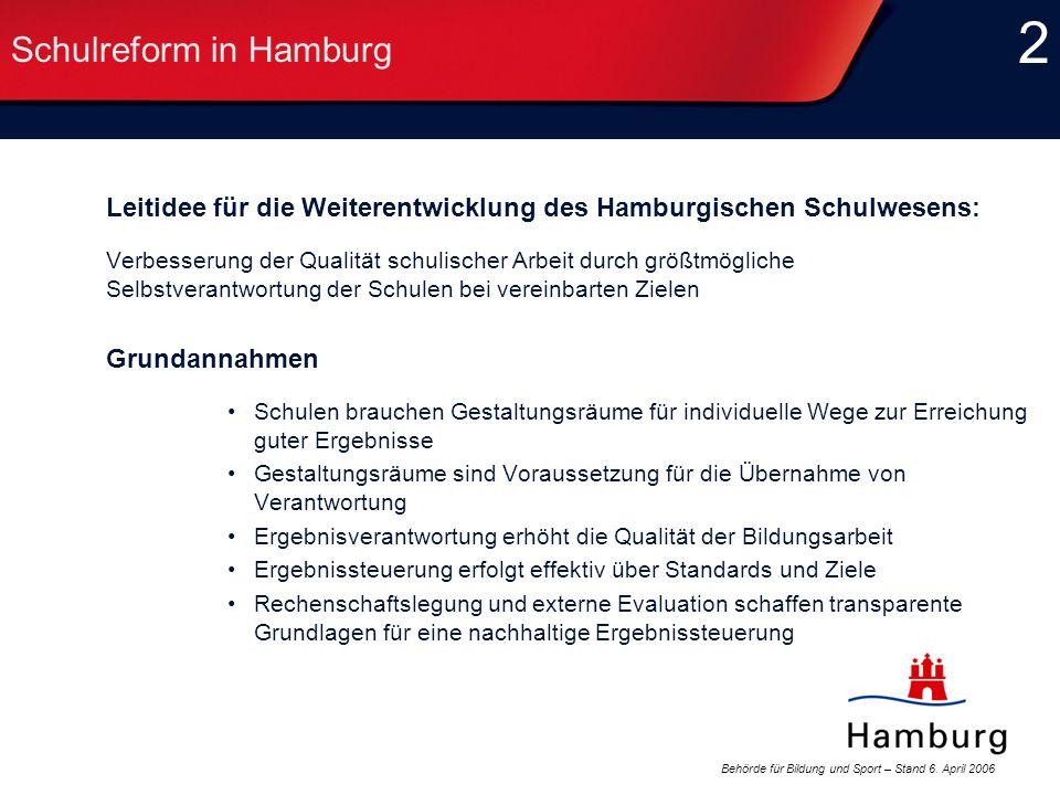 Behörde für Bildung und Sport – Stand 6. April 2006 2 2 Schulreform in Hamburg Leitidee für die Weiterentwicklung des Hamburgischen Schulwesens: Verbe