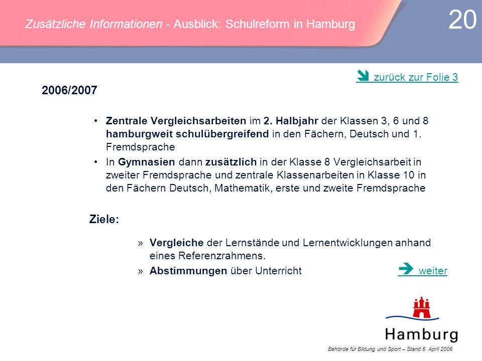 Behörde für Bildung und Sport – Stand 6. April 2006 20 Zusätzliche Informationen - Ausblick: Schulreform in Hamburg 2006/2007 Zentrale Vergleichsarbei