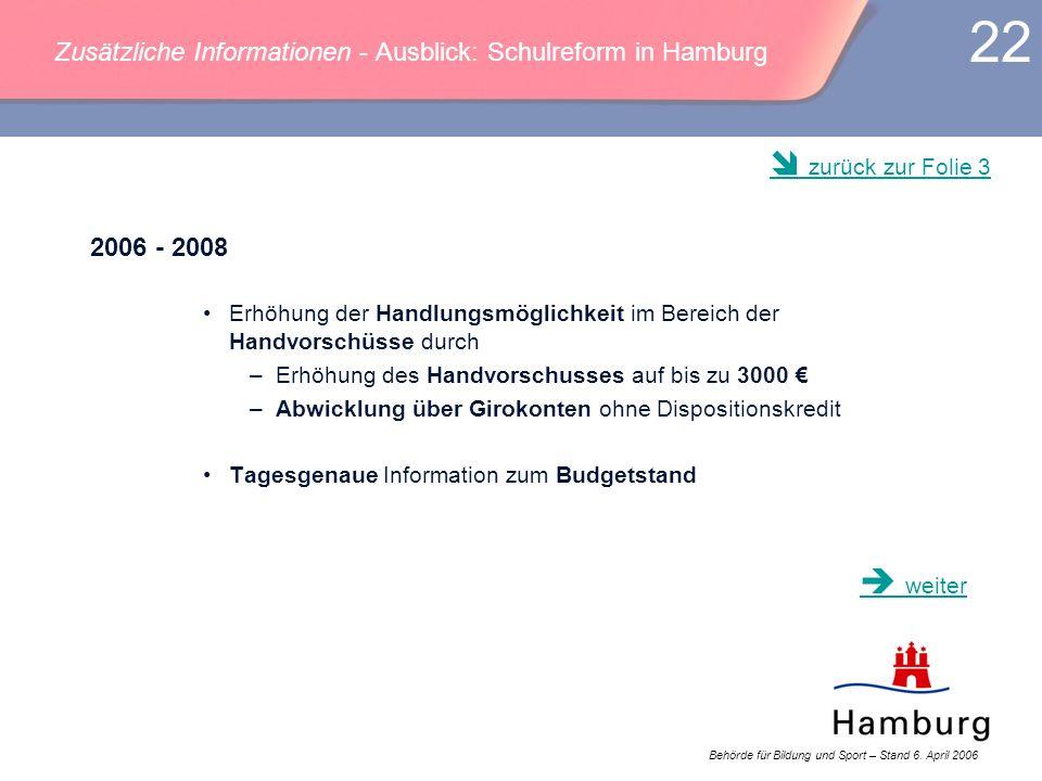 Behörde für Bildung und Sport – Stand 6. April 2006 22 Zusätzliche Informationen - Ausblick: Schulreform in Hamburg 2006 - 2008 Erhöhung der Handlungs