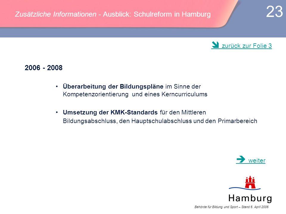 Behörde für Bildung und Sport – Stand 6. April 2006 23 Zusätzliche Informationen - Ausblick: Schulreform in Hamburg 2006 - 2008 Überarbeitung der Bild