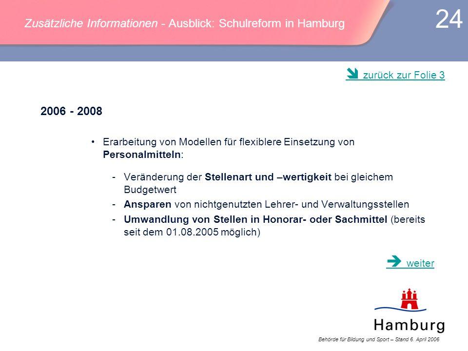 Behörde für Bildung und Sport – Stand 6. April 2006 24 Zusätzliche Informationen - Ausblick: Schulreform in Hamburg 2006 - 2008 Erarbeitung von Modell