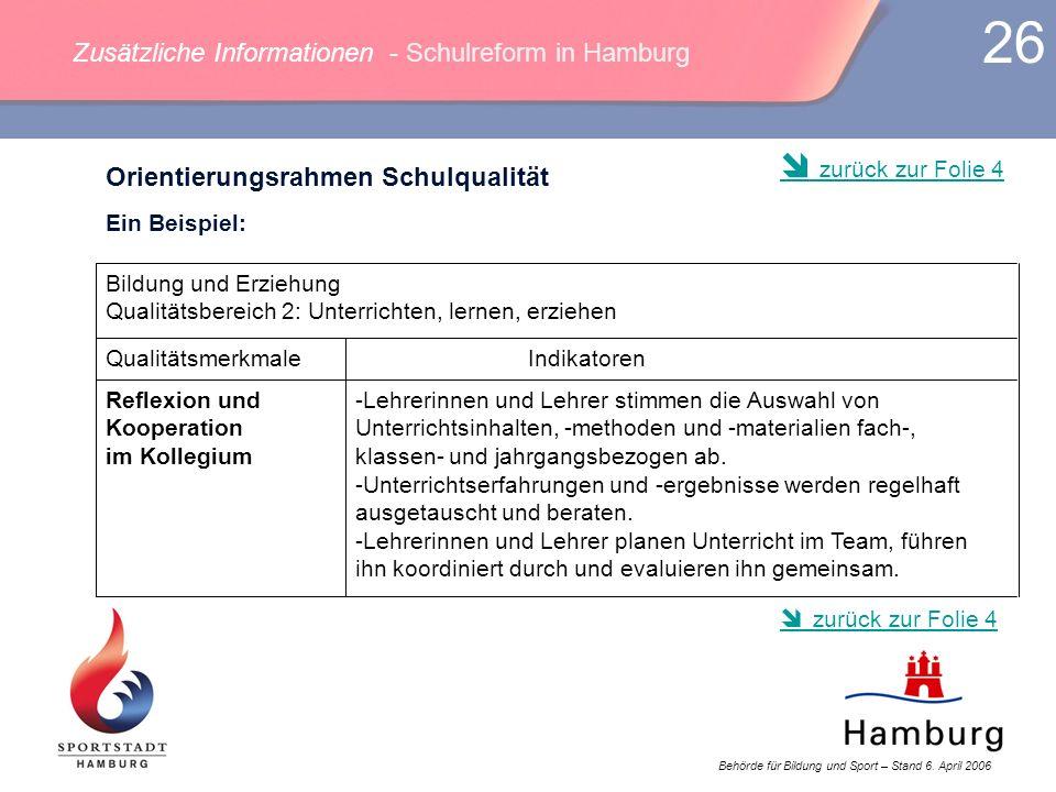 Behörde für Bildung und Sport – Stand 6. April 2006 26 Zusätzliche Informationen - Schulreform in Hamburg -Lehrerinnen und Lehrer stimmen die Auswahl