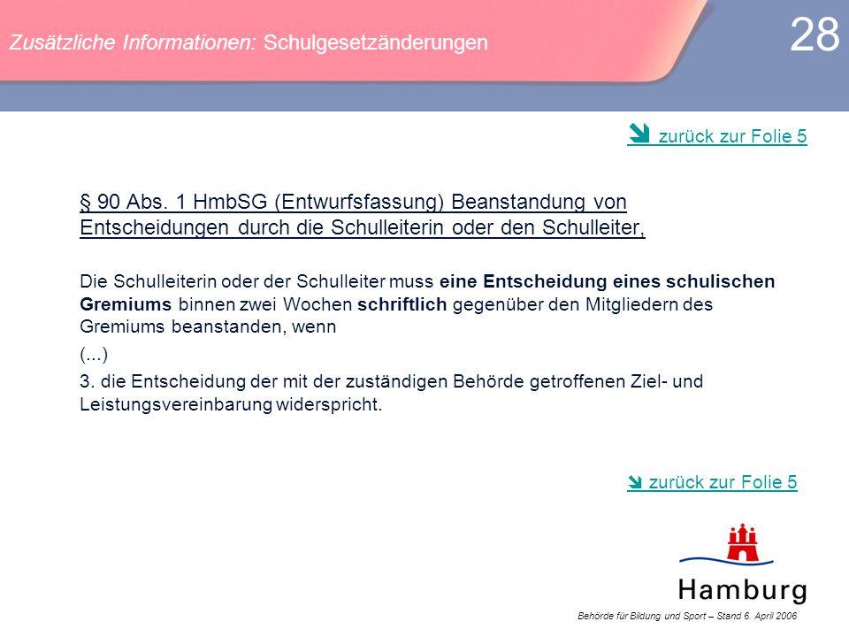 Behörde für Bildung und Sport – Stand 6. April 2006 28 § 90 Abs. 1 HmbSG (Entwurfsfassung) Beanstandung von Entscheidungen durch die Schulleiterin ode