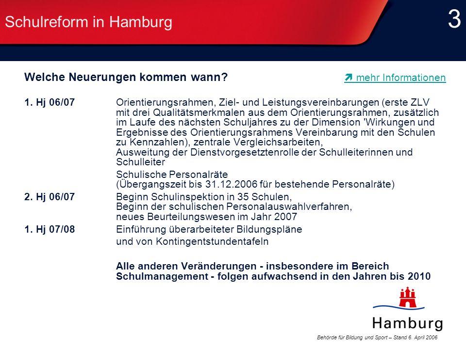 Behörde für Bildung und Sport – Stand 6. April 2006 3 3 Schulreform in Hamburg Welche Neuerungen kommen wann? 1. Hj 06/07 Orientierungsrahmen, Ziel- u