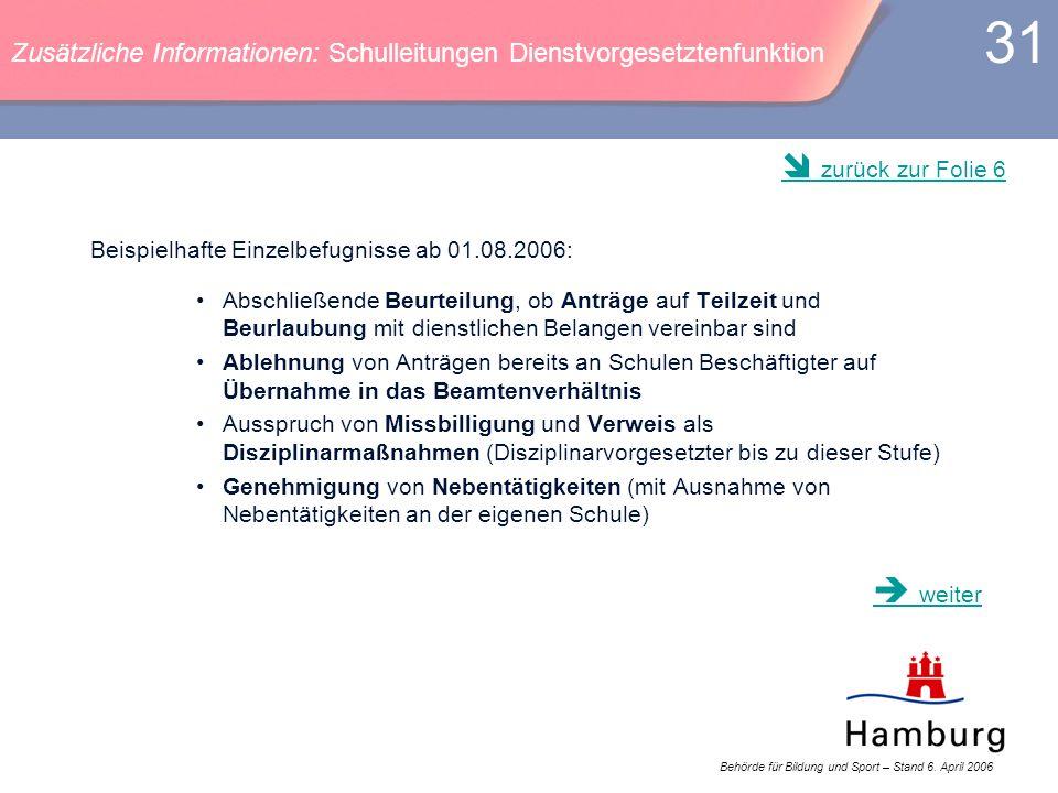 Behörde für Bildung und Sport – Stand 6. April 2006 31 Beispielhafte Einzelbefugnisse ab 01.08.2006: Abschließende Beurteilung, ob Anträge auf Teilzei