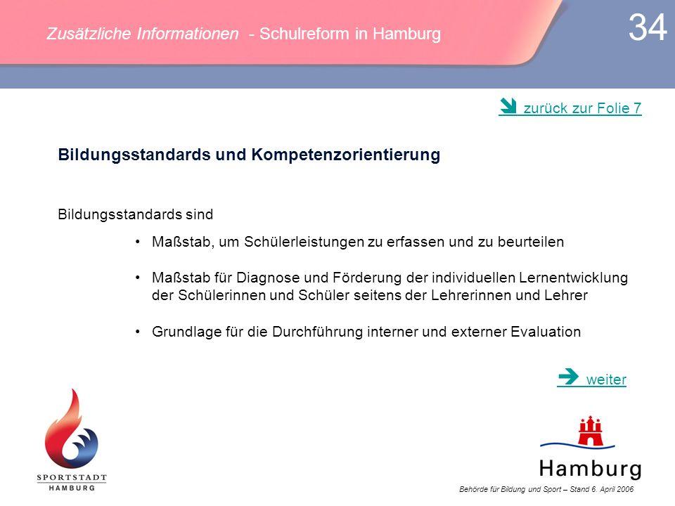 Behörde für Bildung und Sport – Stand 6. April 2006 34 Bildungsstandards und Kompetenzorientierung Bildungsstandards sind Maßstab, um Schülerleistunge