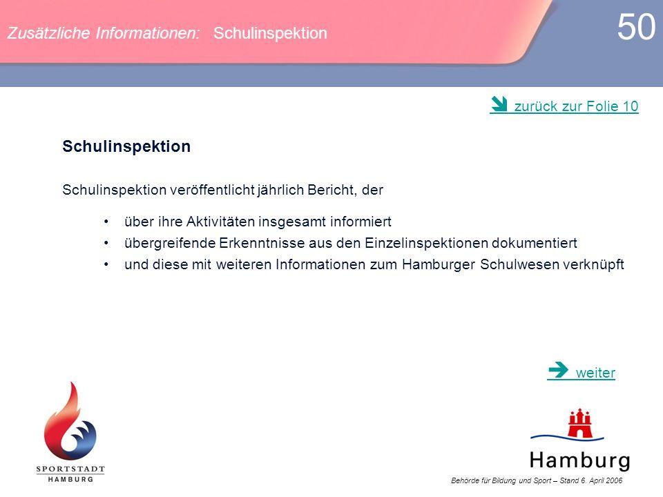 Behörde für Bildung und Sport – Stand 6. April 2006 50 Zusätzliche Informationen: Schulinspektion Schulinspektion Schulinspektion veröffentlicht jährl
