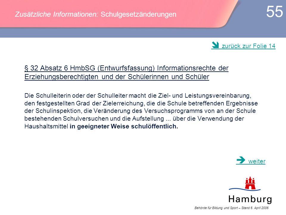 Behörde für Bildung und Sport – Stand 6. April 2006 55 § 32 Absatz 6 HmbSG (Entwurfsfassung) Informationsrechte der Erziehungsberechtigten und der Sch