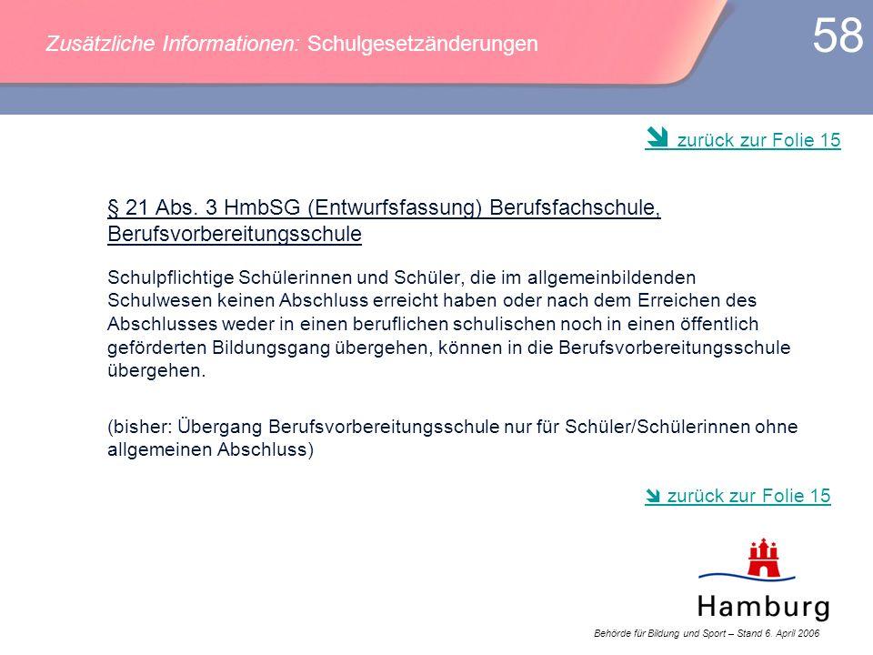 Behörde für Bildung und Sport – Stand 6. April 2006 58 § 21 Abs. 3 HmbSG (Entwurfsfassung) Berufsfachschule, Berufsvorbereitungsschule Schulpflichtige