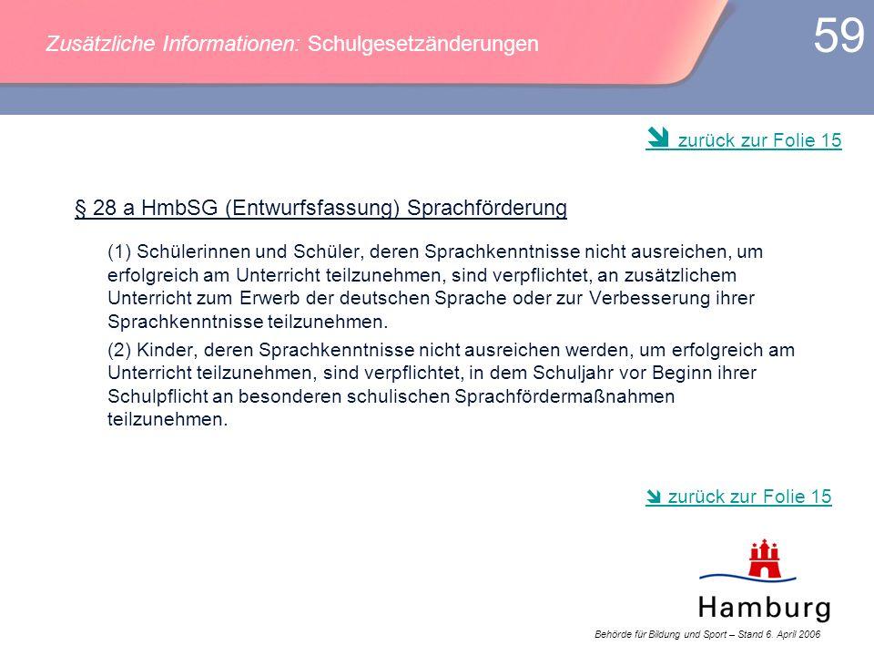 Behörde für Bildung und Sport – Stand 6. April 2006 59 § 28 a HmbSG (Entwurfsfassung) Sprachförderung (1) Schülerinnen und Schüler, deren Sprachkenntn