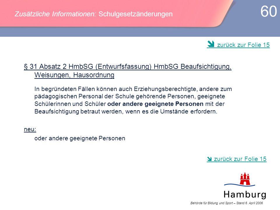 Behörde für Bildung und Sport – Stand 6. April 2006 60 § 31 Absatz 2 HmbSG (Entwurfsfassung) HmbSG Beaufsichtigung, Weisungen, Hausordnung In begründe